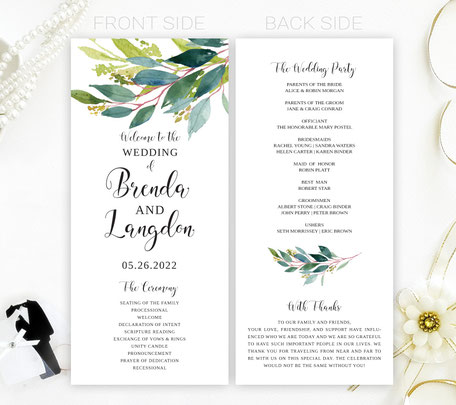 Greenery Wedding Programs