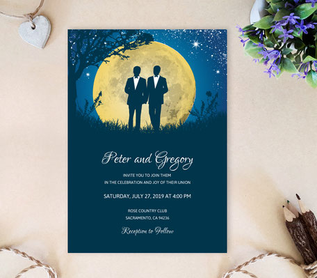 Moon Gay Wedding Invitations