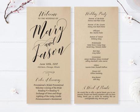 Monogram Wedding Programs