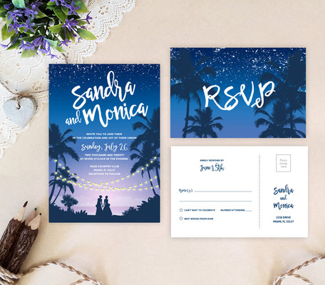 Romantic Lesbian Wedding Invitations