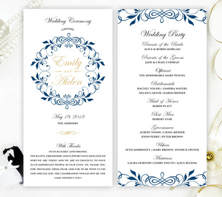 Navy and Gold Wedding Programs