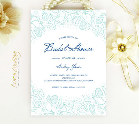Starfish Bridal Shower Invitations