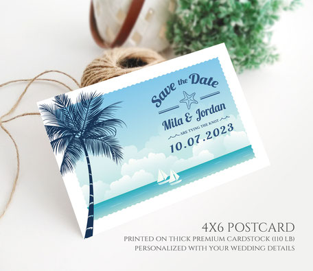Beach wedding Save the Date Postcards