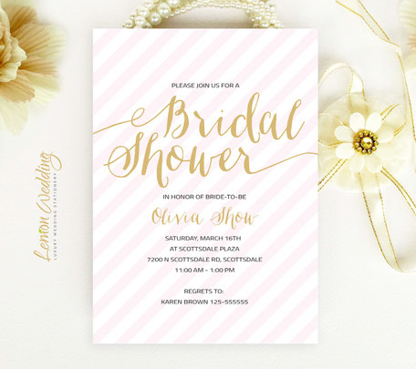 Gold and Pink Bridal Shower Cards