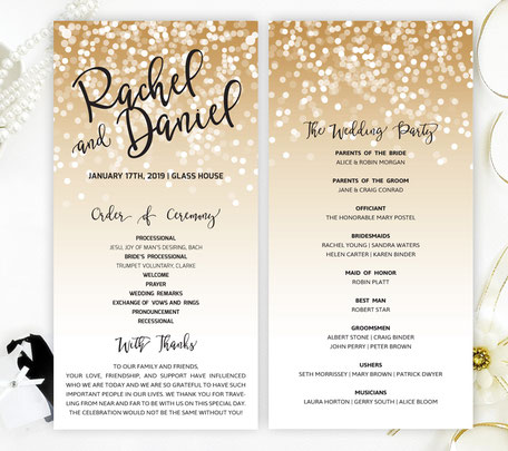 Gold and Black Wedding Programs