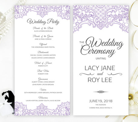 Purple Wedding Programs