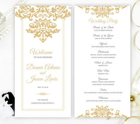 Gold Wedding Programs