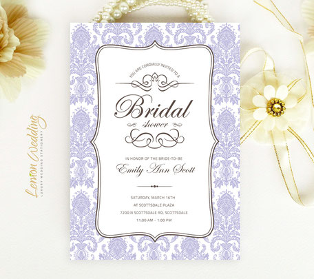 Purpla Bridal Shower Invitations