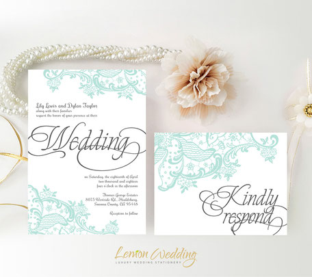 Mint green wedding invitations