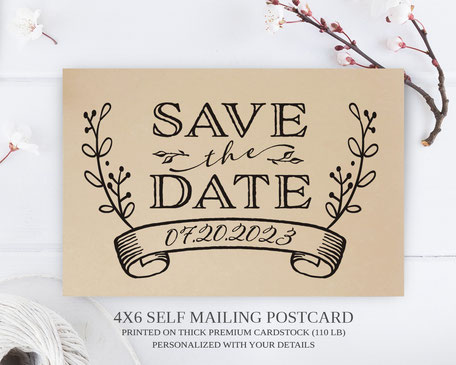 Wreath wedding  Save the Date Postcards