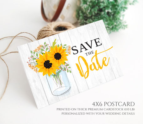Rustic Sunflower Save the Date Postcards
