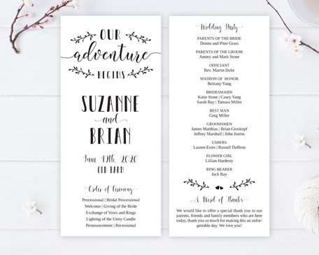 Formal Wedding Programs