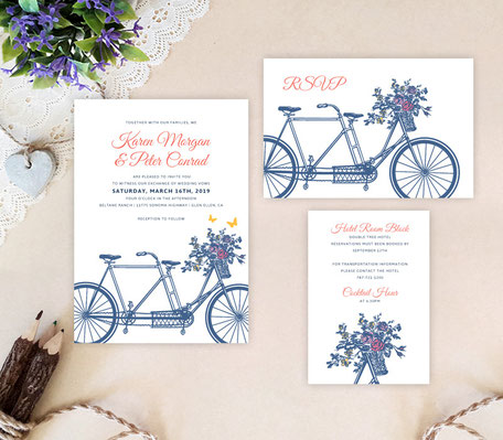 Bicycle themed wedding invitations