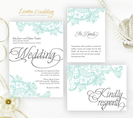 Mint green wedding invitations packs
