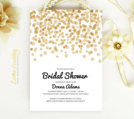 Gold Wedding Shower Invitation cards
