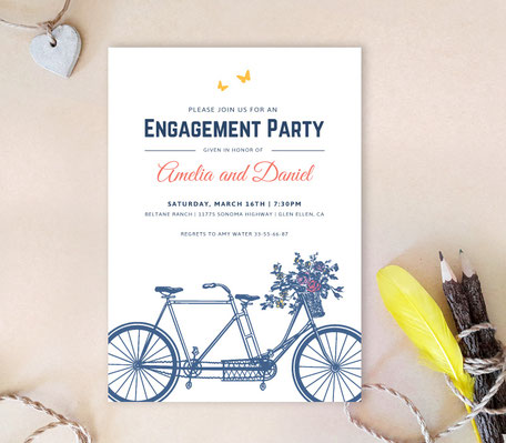 Bycycle Engagement Party Invitations