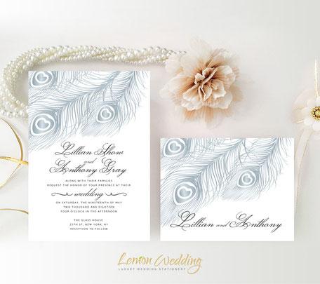 Silver peacock wedding invitations
