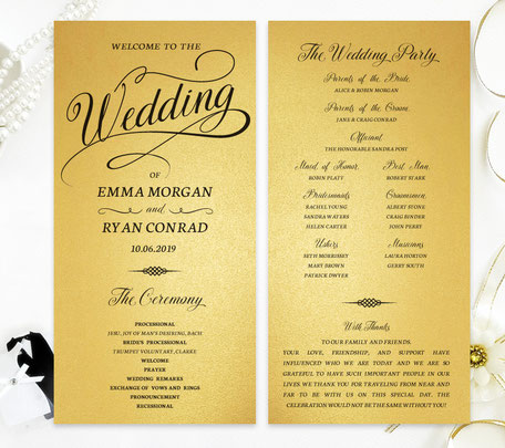 Gold Wedding Programs
