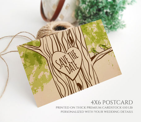 Woodland Wedding Save the Date Postcards