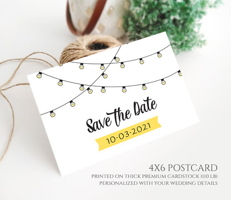 String Light Wedding  Save the Date Postcards