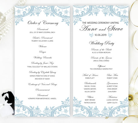 Dusty Blue Wedding Programs