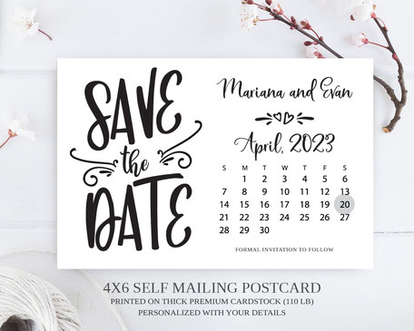 Save the Date Calendar Postcards