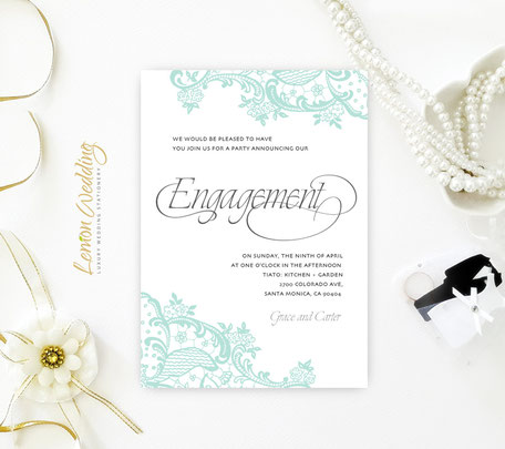 Green Lace Engagement Invitation Card
