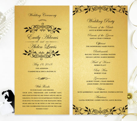 Gold Paper Wedding Programs
