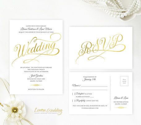 gold calligraphy wedding invtations