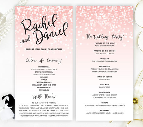 Pink and Black Wedding Programs