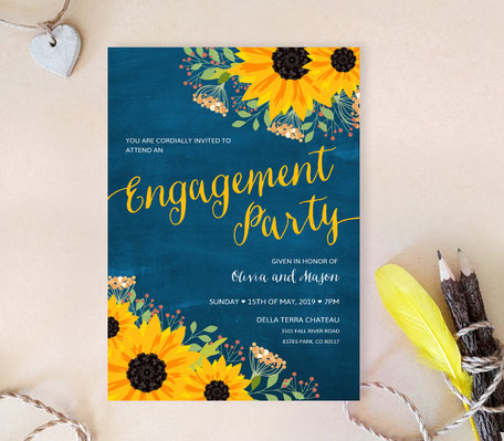 Sunflower Engagement Party Invitations