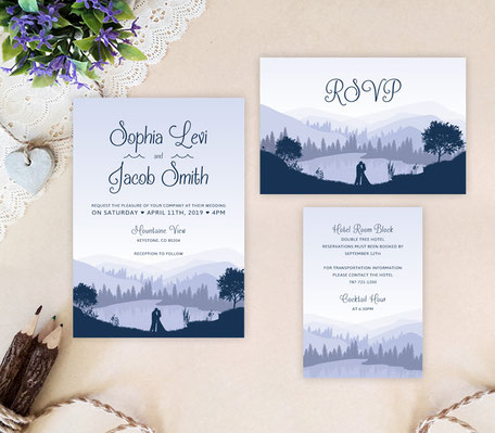mountain wedding invitation cards