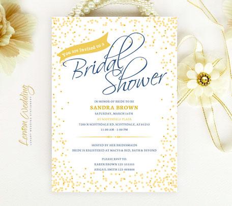 Gold Wedding Shower Invitations
