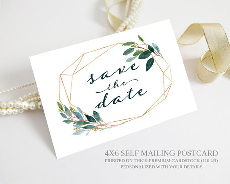 Greenery Wedding Save the Date Postcards
