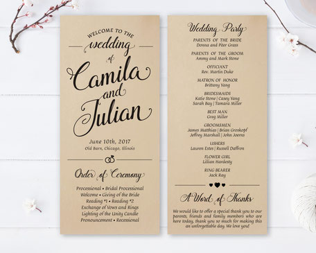 Kraft Wedding Ceremony Programs