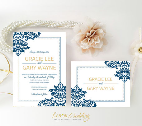 Navy and gold wedding invitations with RSVP
