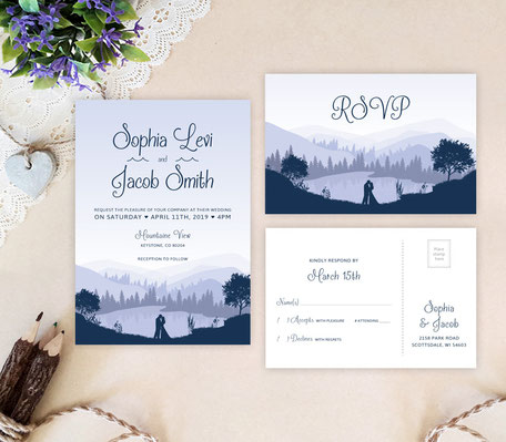 mountain wedding invitations with RSVP