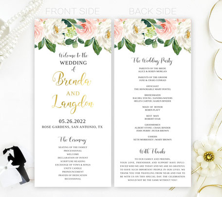 Flowers Wedding Programs