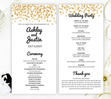 Gold Confetti Wedding Programs