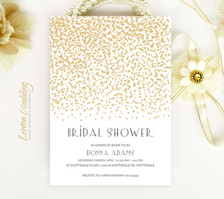 Gold Stars Bridal Shower Invitations