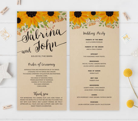 Sunflower Ceremony Programs