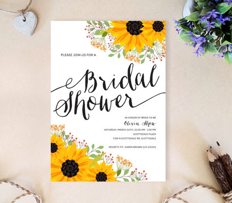Sunflower Bridal Shower Invites