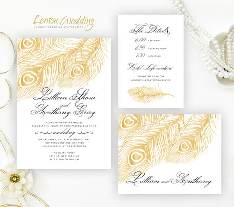 Gold feather wedding invitations