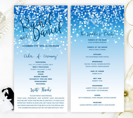 Blue Wedding Programs
