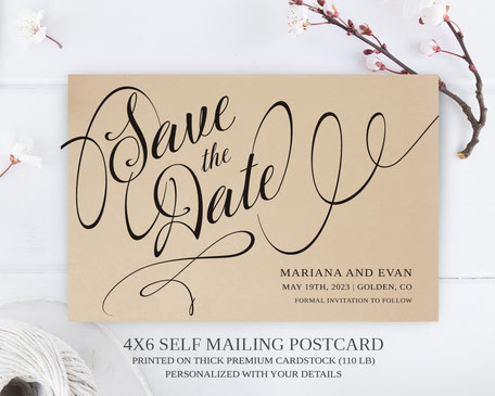 Calligraphy wedding  Save the Date Postcards