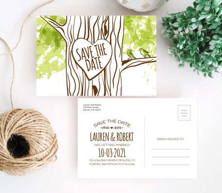 Tree Stump Wedding Save the Date Postcards