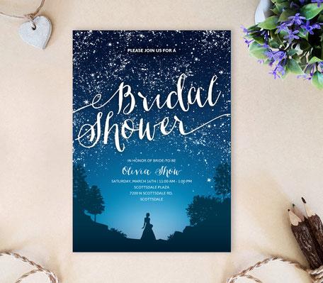 Starry Night Bridal Shower Invitations