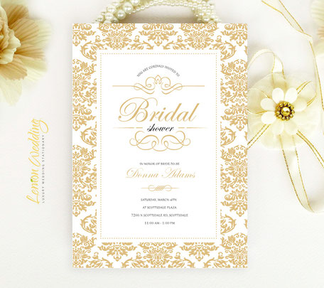 Gold Damask Bridal Shower Invitations