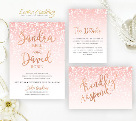 Rose gold wedding invitations sets