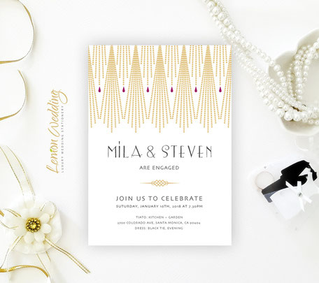 Art Deco Engagement Party Invitations